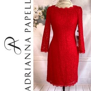 Adrianna Papell Scalloped Lace Mini Red Dress